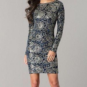 NWT L'ATISTE Velvet Sequin Bodycon Open-Back Dress
